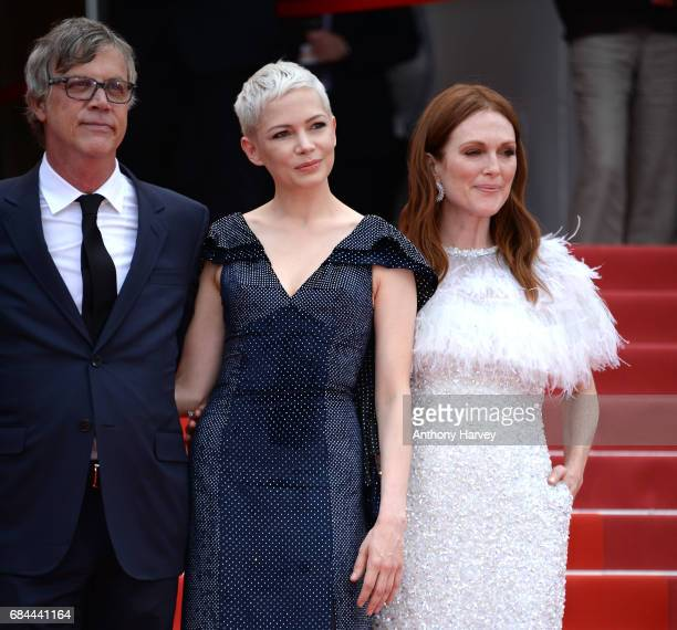 Michelle Williams Julianne Moore and Todd Haynes attend the 'Wonderstruck ' screening during the 70th annual Cannes Film Festival at Palais des...