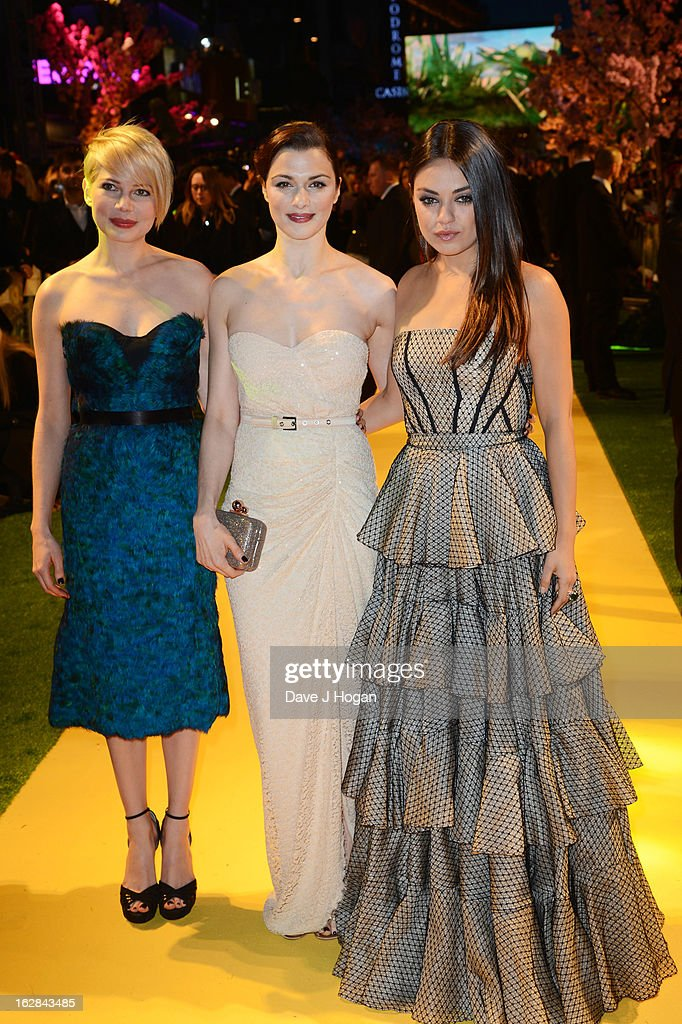 Michelle Williams, Rachel Weisz and Mila Kunis attend the European premiere of Oz: The Great And Powerful at The Empire Leicester Square on February 28, 2013 in London, England.