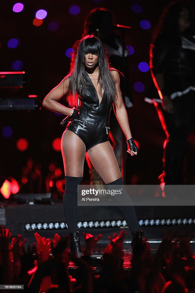 Michelle Williams strikes a pose when Destiny's Child Reunites to perform when Beyonce performs during the Pepsi Super Bowl XLVII Halftime Show at Mercedes-Benz Superdome on February 3, 2013 in New Orleans, Louisiana.