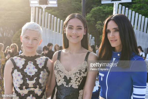 Michelle Williams Urassaya Sperbund and Jennifer Connelly attend the Louis Vuitton Resort 2018 show at the Miho Museum on May 14 2017 in Koka Japan
