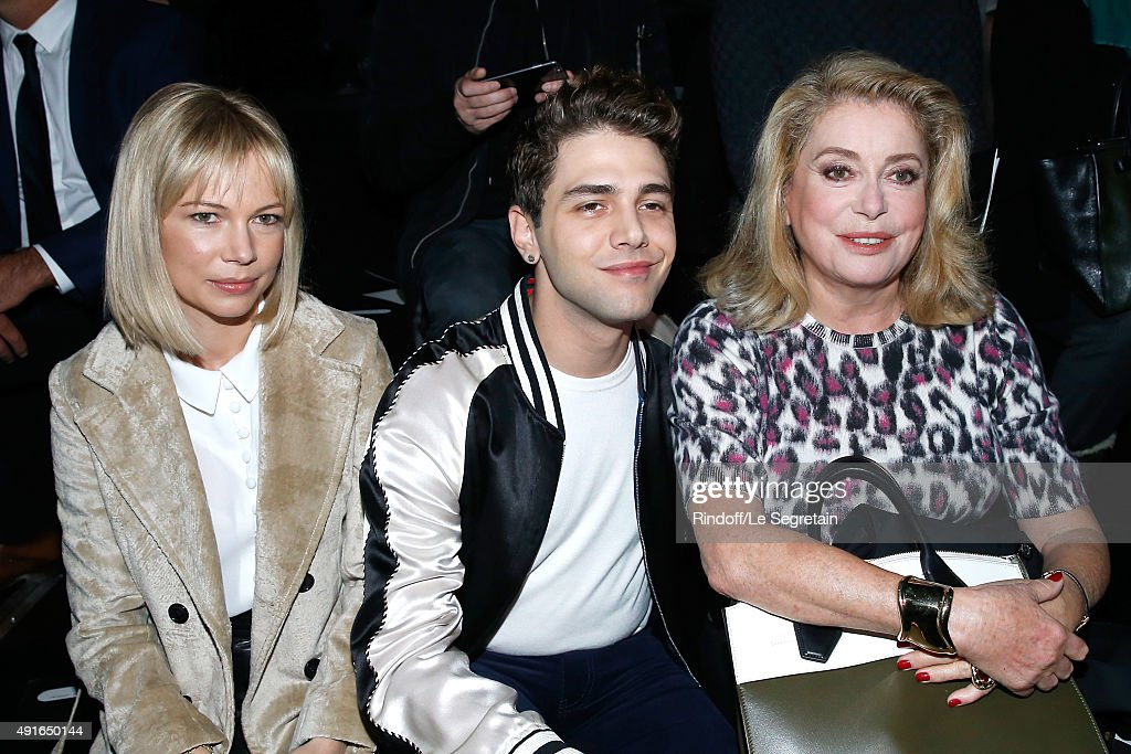 Michelle Williams, Xavier Dolan and Catherine Deneuve attend the Louis Vuitton show as part of the Paris Fashion Week Womenswear Spring/Summer 2016. Held at Louis Vuitton Foundation on October 7, 2015 in Paris, France.