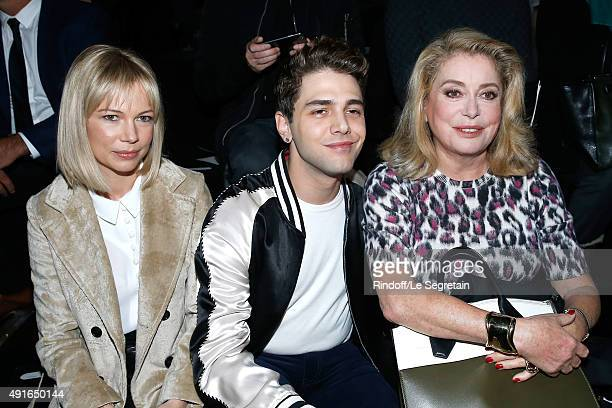 Michelle Williams Xavier Dolan and Catherine Deneuve attend the Louis Vuitton show as part of the Paris Fashion Week Womenswear Spring/Summer 2016...