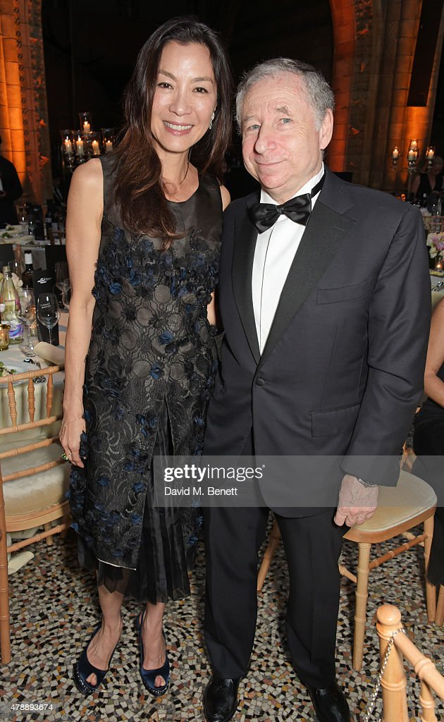 Michelle Yeoh (L) and Jean Todt attend the 2015 FIA Formula E Visa London ePrix Gala Dinner at the Natural History Museum on June 28, 2015 in London, England.