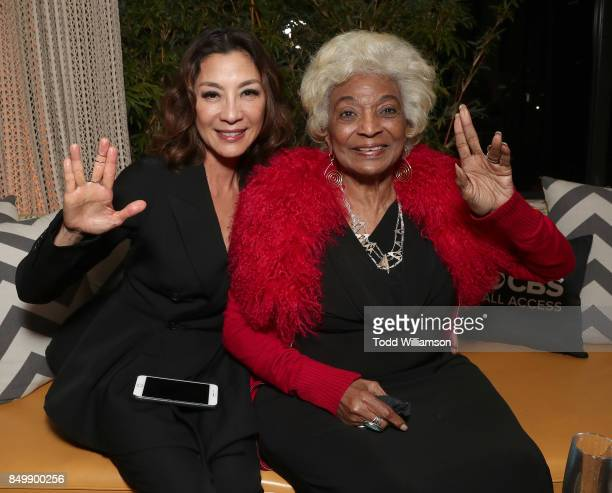 Michelle Yeoh and Nichelle Nichols attend the after party for the premiere of CBS's 'Star Trek Discovery' at the Dream Hotel on September 19 2017 in...