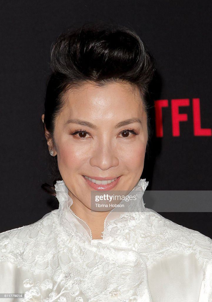 Michelle Yeoh attends the Premiere of Netflix's 'Crouching Tiger Hidden Dragon Sword Of Destiny' at AMC Universal City Walk on February 22 2016 in...