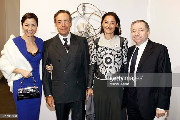 Michelle Yeoh Lindsay OwenJones Cristina OwenJones and Jean Todt attend the Association 'Dessine l'Espoir' Charity Dinner during Art Paris Exhibition...