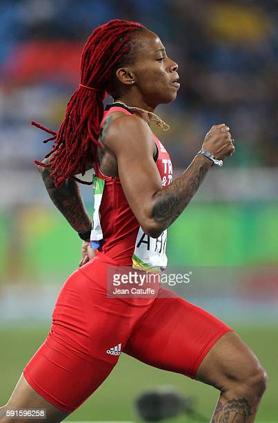 MichelleLee Ahye of Trinidad and Tobago competes in the Women's 200m on day 11 of the Rio 2016 Olympic Games at Olympic Stadium on August 16 2016 in...