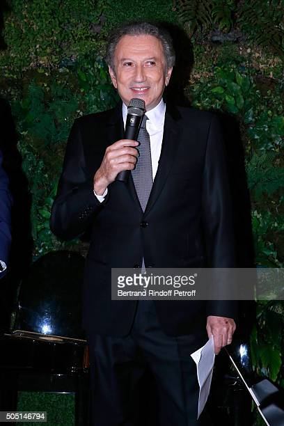 Michelt Drucker gives to Singer Tony Carreira the 'Medal of Chevalier of Arts and Letters' Held at Hotel de Sers on January 15 2016 in Paris France