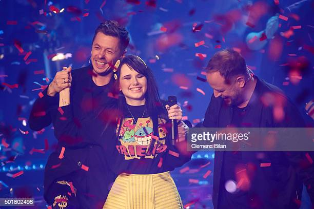 Michi Beck JamieLee Kriewitz and Smudo attend the TV show 'The Voice Of Germany Finals' on December 17 2015 in Berlin Germany