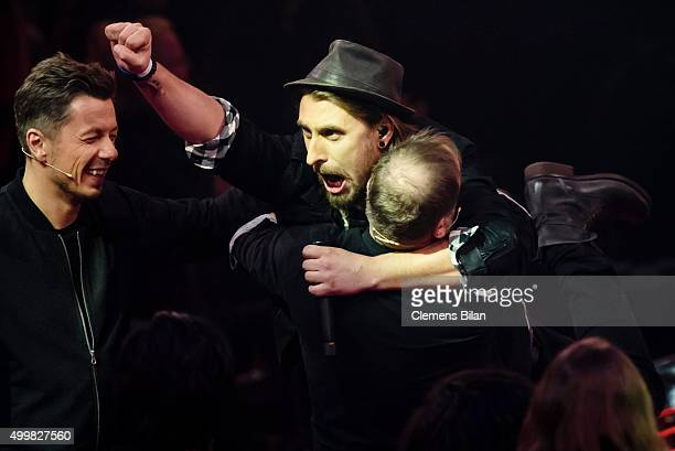 Michi Beck Tobias Vorwerk and Smudo attend the The Voice Of Germany 1st Live Show on December 3 2015 in Berlin Germany