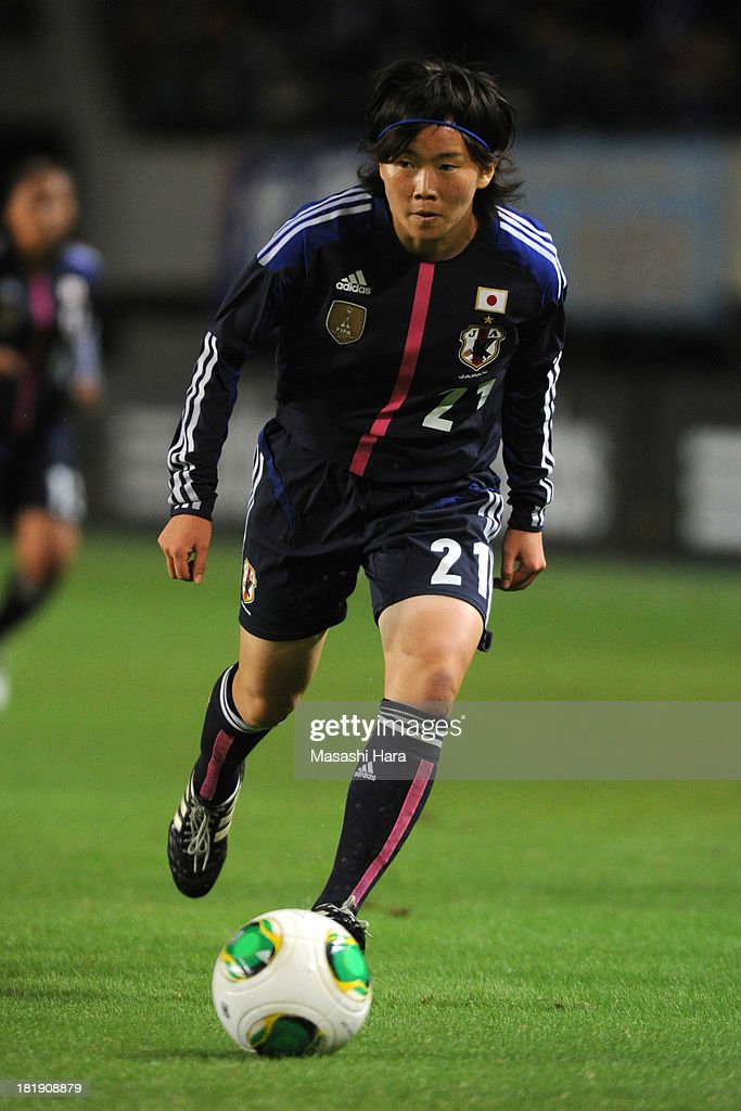Michi Goto #21 of Japan in action during the Women's international friendly match between Japan and Nigeria at Fukuda Denshi Arena on September 26, 2013 in Chiba, Japan.