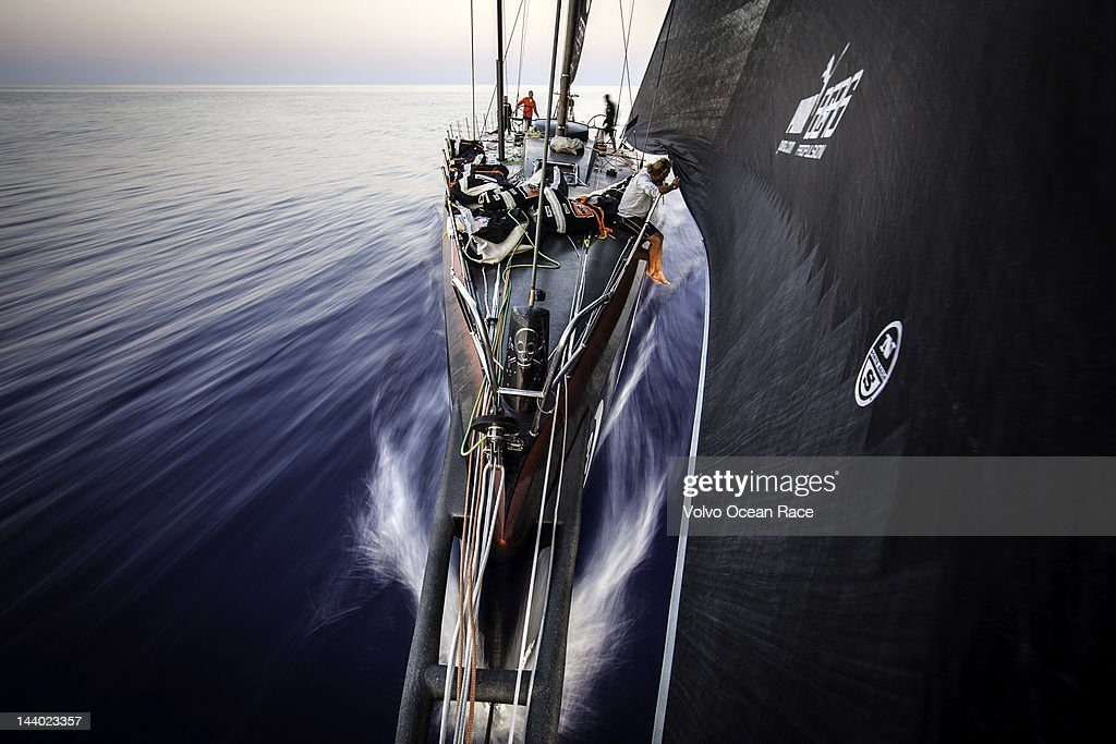 Michi Mueller from Germany adjusts the sail onboard PUMA Ocean Racing powered by BERG during leg 6 of the Volvo Ocean Race 2011-12, from Itajai, Brazil, to Miami, USA, on May 8, 2012.