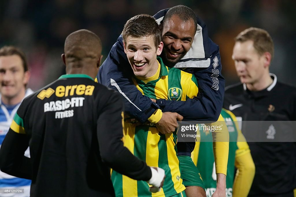 Michiel Kramer of ADO Den Haag, <a gi-track='captionPersonalityLinkClicked' href=/galleries/search?phrase=Wilson+Eduardo&family=editorial&specificpeople=7150735 ng-click='$event.stopPropagation()'>Wilson Eduardo</a> of ADO Den Haag during the Dutch Eredivisie match between ADO Den Haag and PEC Zwolle at Kyocera stadium on February 21, 2015 in The Hague, The Netherlands