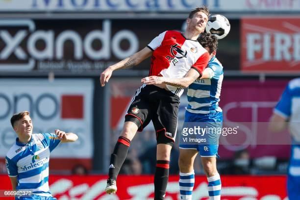 Michiel Kramer of Feyenoord Dirk Marcellis of PEC Zwolleduring the Dutch Eredivisie match between PEC Zwolle and bv Feyenoord Rotterdam at the...