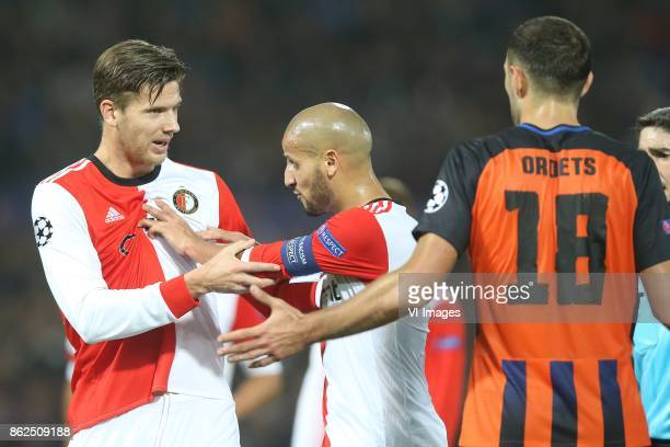 Michiel Kramer of Feyenoord Karim El Ahmadi of Feyenoord Ivan Ordets of FC Shakhtar Donetsk during the UEFA Champions League group F match between...