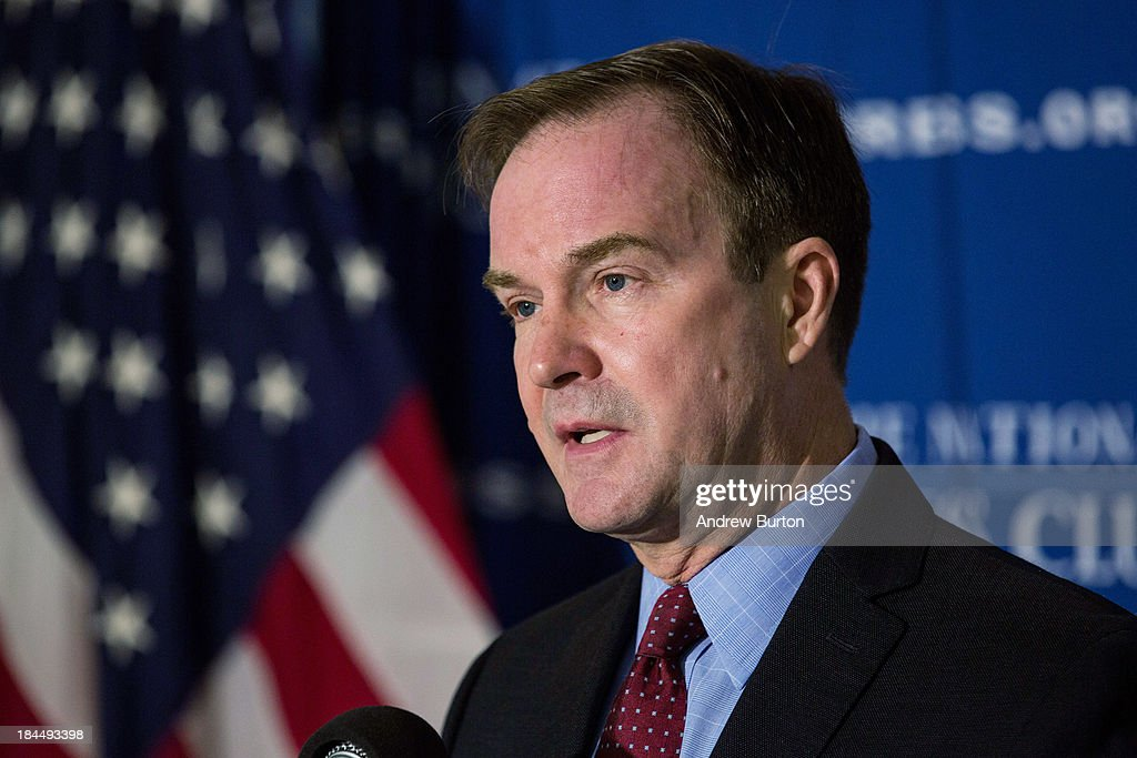 Michigan Attorney General Bill Schuette speaks at a press conference the day before going before the U.S. Supreme Court in the case of 'Schuette v. Coalition to Defend Affirmative Action,' on October 14, 2013 in Washington, DC. 'Schuette v. Coalition to Defend Affirmative Action' centers around affirmative action in higher education and whether or not a state has the constitutional right to ban college admissions from giving 'preferential treatment' to potential students based on race during the admissions process. In 2006, the Supreme Court ruled in Grutter v. Bollinger stating that states have the right to consider race in the admissions process as part of an 'individualized, holistic review of each applicant's file' - whether or not the state's right to consider race is an obligation is what is at stake. In 2006 the voters of Michigan passed an amendment by 58% banning racial considerations in a college admissions process, which the Coalition to Defend Affirmative Action is now fighting.