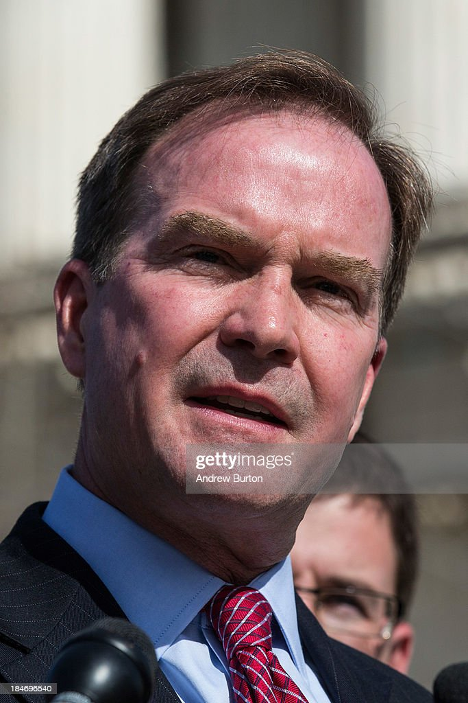 Michigan Attorney General Bill Schuette speaks during a press conference outside the Supreme Court after going before the Supreme Court in 'Schuette v. Coalition to Defend Affirmative Action' on October 15, 2013 in Washington, DC. The case revolves around affirmative action and whether or not states have the right to ban schools from using race as a consideration in school admissions.