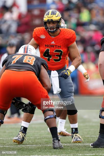 Michigan Defensive End Chris Wormley of the North Team during the 2017 Resse's Senior Bowl at LaddPeebles Stadium on January 28 2017 in Mobile...