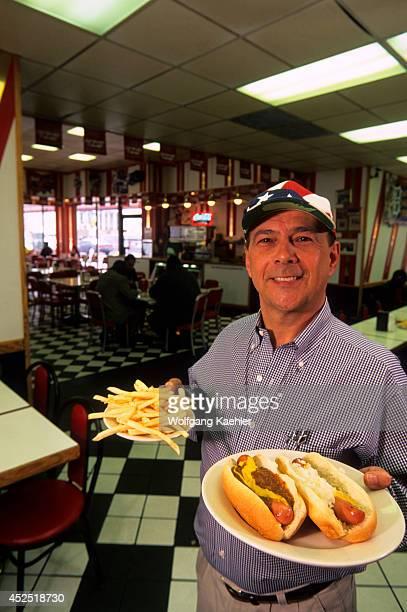 USA Michigan Detroit Downtown American Coney Island Interior Owner Dan Keros
