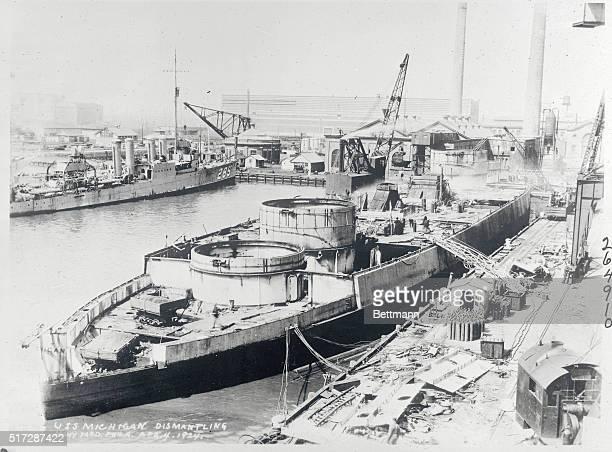 USS Michigan Dismantling Navy Yard Philadelphia April 4 1924