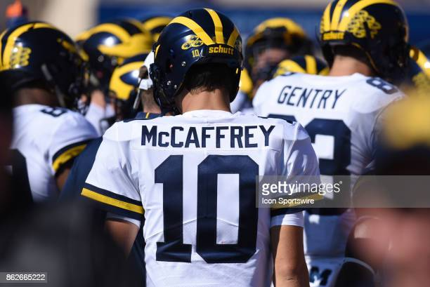 Michigan Dylan McCaffrey on the sideline during a college football game between the Michigan Wolverines and the Indiana Hoosiers on October 14 2017...