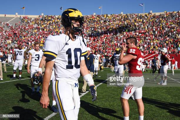 Michigan Dylan McCaffrey walking off the field following a college football game between the Michigan Wolverines and the Indiana Hoosiers on October...