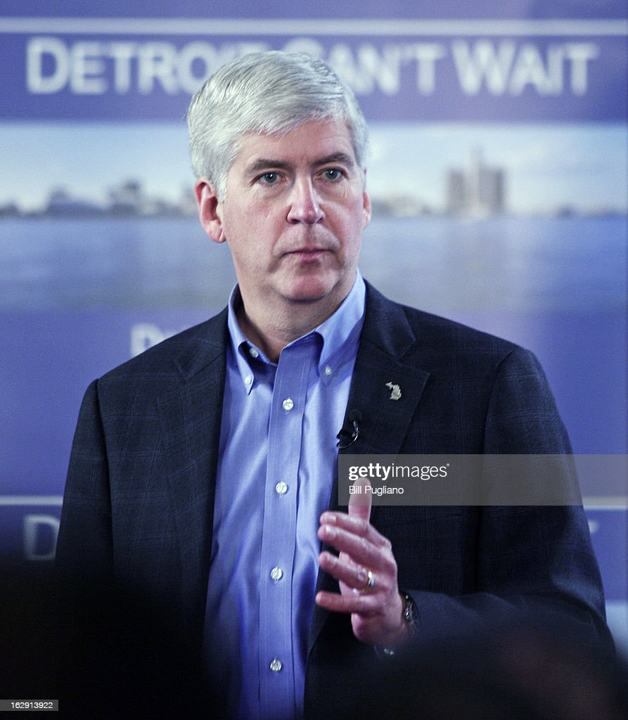 Michigan Gov. <a gi-track='captionPersonalityLinkClicked' href=/galleries/search?phrase=Rick+Snyder+-+Politician&family=editorial&specificpeople=7431421 ng-click='$event.stopPropagation()'>Rick Snyder</a> announces he will appoint an Emergency Financial Manager for the city of Detroit during a town hall meeting at Wayne State University March 1, 2013 in Detroit, Michigan. Detroit has more than $14 billion in debts and liabilities and has 10-days to appeal Snyder's decision.