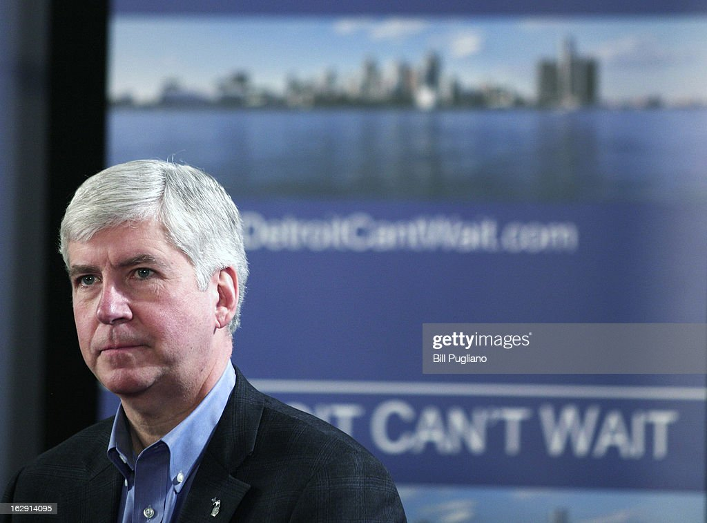 Michigan Gov. <a gi-track='captionPersonalityLinkClicked' href=/galleries/search?phrase=Rick+Snyder+-+Politiker&family=editorial&specificpeople=7431421 ng-click='$event.stopPropagation()'>Rick Snyder</a> announces he will appoint an Emergency Financial Manager for the city of Detroit during a town hall meeting at Wayne State University March 1, 2013 in Detroit, Michigan. Detroit has more than $14 billion in debts and liabilities and has 10-days to appeal Snyder's decision.