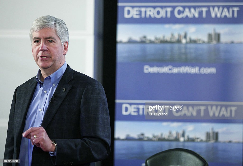 Michigan Gov. Rick Snyder announces he will appoint an Emergency Financial Manager for the city of Detroit during a town hall meeting at Wayne State University March 1, 2013 in Detroit, Michigan. Detroit has more than $14 billion in debts and liabilities and has 10-days to appeal Snyder's decision.