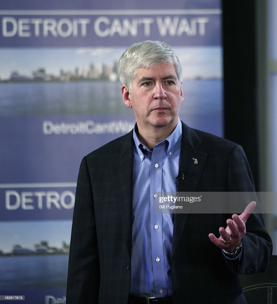 Michigan Governor <a gi-track='captionPersonalityLinkClicked' href=/galleries/search?phrase=Rick+Snyder+-+Politiker&family=editorial&specificpeople=7431421 ng-click='$event.stopPropagation()'>Rick Snyder</a> announces he will appoint an Emergency Financial Manager for the city of Detroit during a town hall meeting at Wayne State University March 1, 2013 in Detroit, Michigan. Detroit has more than $14 billion in debts and liabilities. The City has 10 days to appeal Gov. Snyder's decision.
