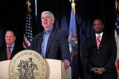 Michigan Governor Rick Snyder speaks at a press conference with Detroit Mayor Mike Duggan and former Detroit Emergency Manager Kevyn Orr to announce...