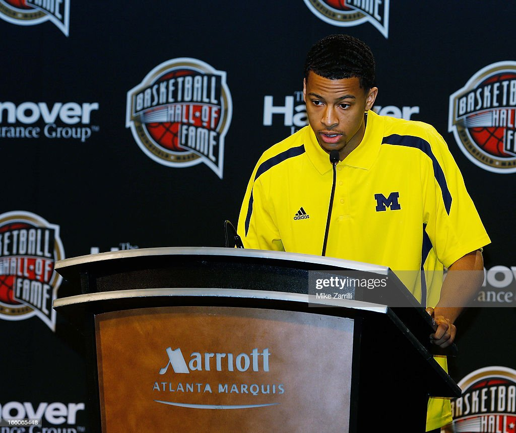 Michigan point guard <a gi-track='captionPersonalityLinkClicked' href=/galleries/search?phrase=Trey+Burke&family=editorial&specificpeople=8770717 ng-click='$event.stopPropagation()'>Trey Burke</a> speaks after receiving the 2013 Bob Cousy Award at Marriott Marquis on April 8, 2013 in Atlanta, Georgia.
