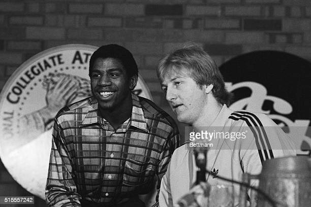 Michigan State guard Earvin Johnson and Indiana State forward Larry Bird answer questions for reporters during a press conference in Salt Lake City...