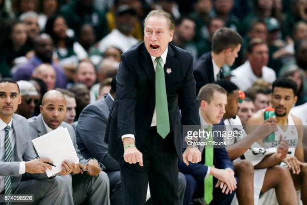Michigan State head coach Tom Izzo yells from the bench during the second half against Duke in the State Farm Champions Classic at the United Center...