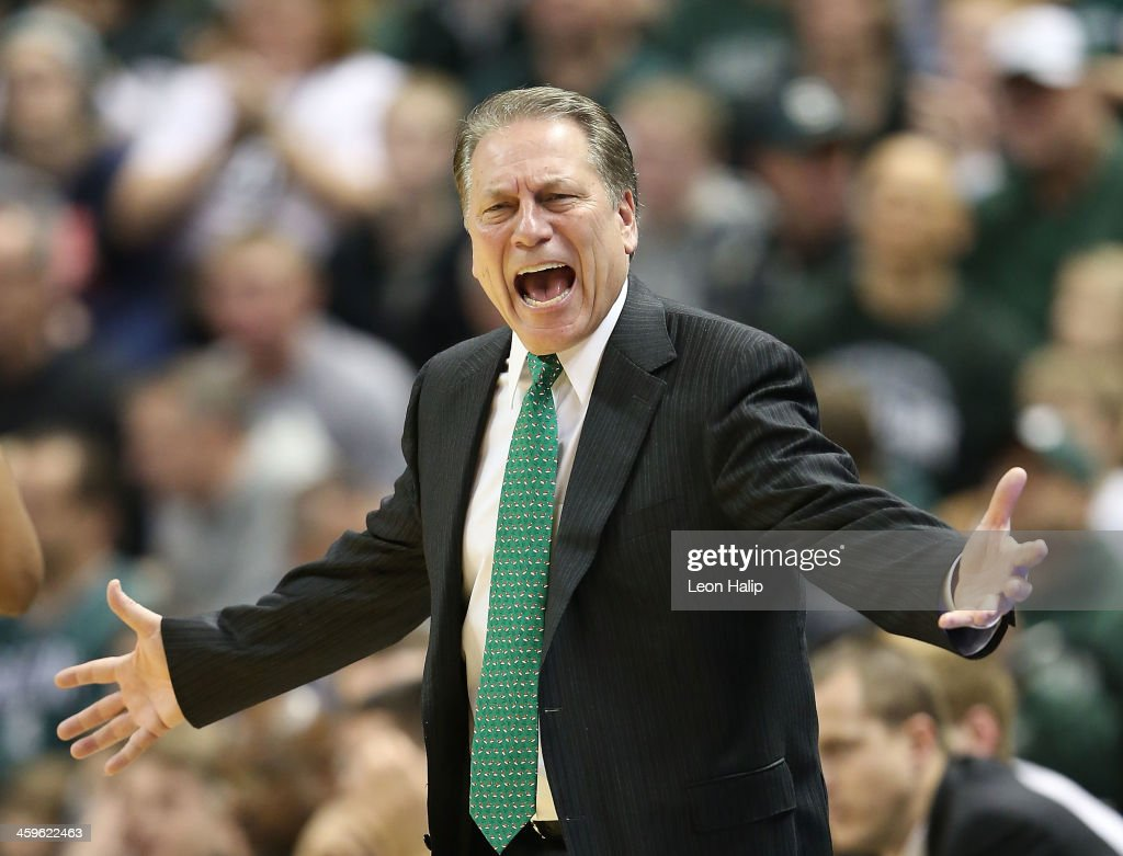 Michigan State Spartans head basketball coach Tom Izzo reacts to a call during the first half of the game against the New Orleans Privateers at the Breslin Center on December 28, 2013 in East Lansing, Michigan.