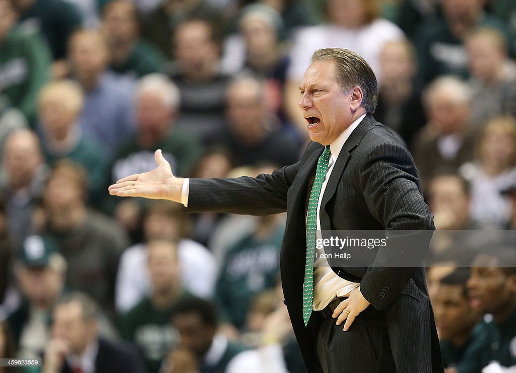 Michigan State Spartans head basketball coach <a gi-track='captionPersonalityLinkClicked' href=/galleries/search?phrase=Tom+Izzo&family=editorial&specificpeople=238861 ng-click='$event.stopPropagation()'>Tom Izzo</a> reacts to a call during the second half of the game against the New Orleans Privateers at the Breslin Center on December 28, 2013 in East Lansing, Michigan. The Spartans defeated the Privateers 101-48.