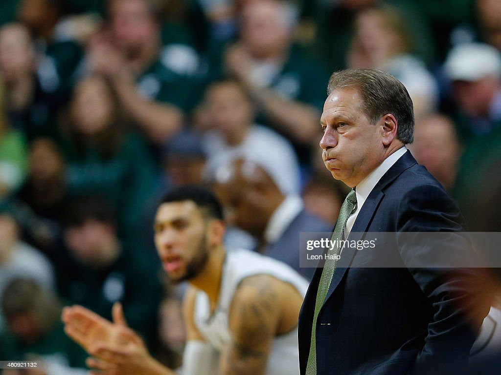 Michigan State Spartans head basketball coach <a gi-track='captionPersonalityLinkClicked' href=/galleries/search?phrase=Tom+Izzo&family=editorial&specificpeople=238861 ng-click='$event.stopPropagation()'>Tom Izzo</a> watches the action during the second half of the game against the Maryland Terrapins at the Breslin Center on December 30, 2014 in East Lansing, Michigan. Maryland defeated Michigan State 68-66.