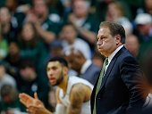 Michigan State Spartans head basketball coach Tom Izzo watches the action during the second half of the game against the Maryland Terrapins at the...