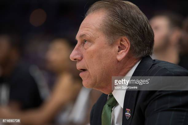 Michigan State Spartans head coach Tom Izzo on the sidelines during the State Farm Champions Classic basketball game between the Duke Blue Devils and...