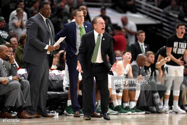 Michigan State Spartans head coach Tom Izzo reacts after a play in the first period during the State Farm Classic Champions Classic game between the...