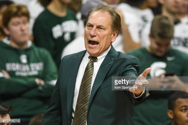 Michigan State Spartans head coach Tom Izzo shouts toward the officials during a college basketball game between Michigan State and North Florida on...
