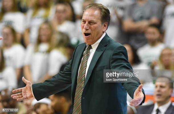 Michigan State Spartans head coach Tom Izzo shows his displeasure with a call during a college basketball game between Michigan State and North...