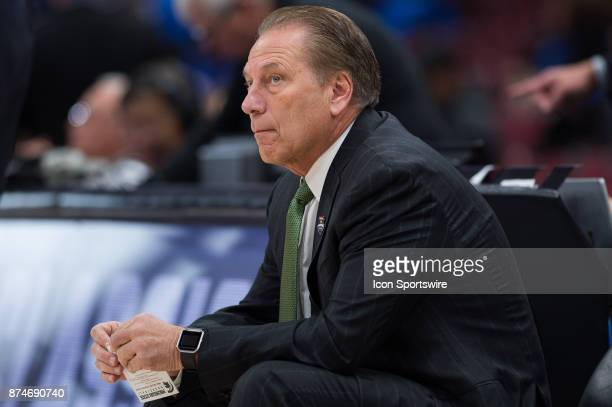Michigan State Spartans head coach Tom Izzo watches Duke warm up before the State Farm Champions Classic basketball game between the Duke Blue Devils...