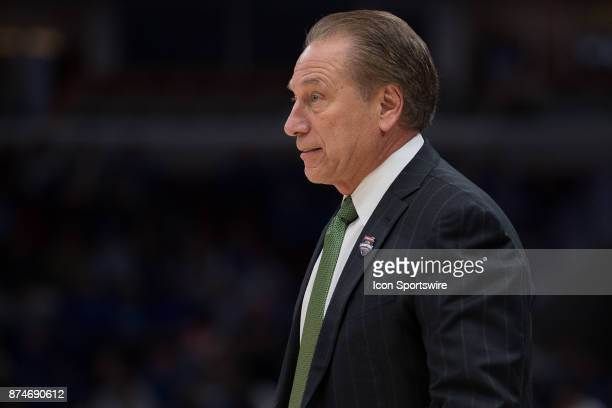 Michigan State Spartans head coach Tom Izzo watches from the sidelines during the State Farm Champions Classic basketball game between the Duke Blue...