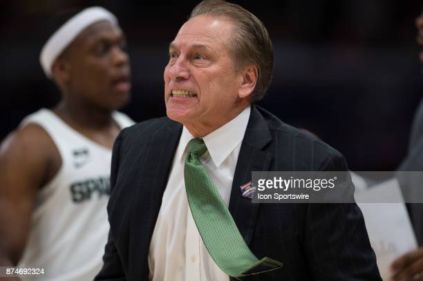Michigan State Spartans head coach Tom Izzo yells from the sidelines during the State Farm Champions Classic basketball game between the Duke Blue...