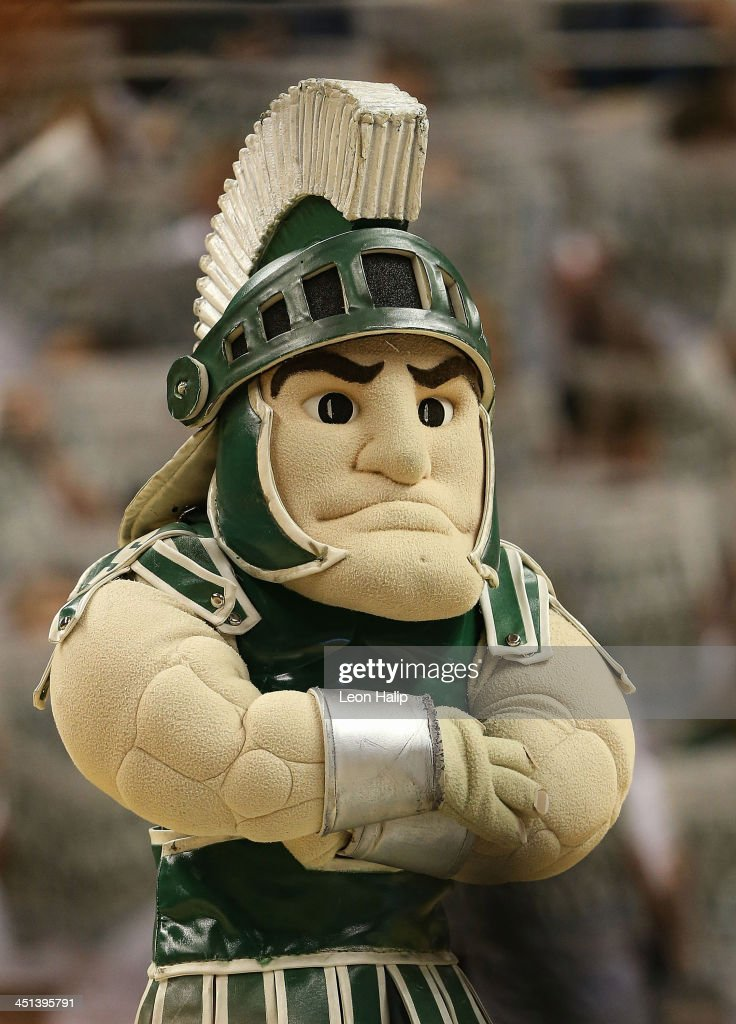 Michigan State Spartans mascot Sparty performs during the game against the Columbia Lions at the Breslin Center on November 15, 2013 in East Lansing, Michigan. Michigan State defeated Columbia 62-53.