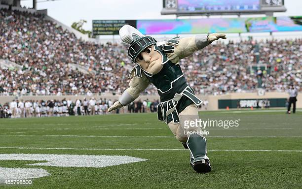 Michigan State Spartans mascott 'SPARTY' entertains the fans during the third quarter of the game against Eastern Michigan Eagles at Spartan Stadium...