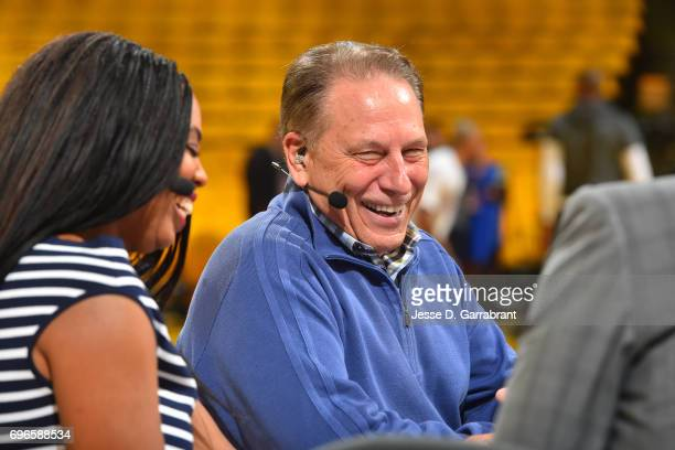 Michigan State's men's basketball head coach Tom Izzo does an interview before Game One of the 2017 NBA Finals between the Cleveland Cavaliers and...