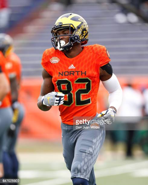 Michigan Wide Receiver Amara Darboh of the North Team during the 2017 Resse's Senior Bowl at LaddPeebles Stadium on January 28 2017 in Mobile Alabama...