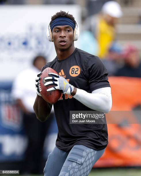 Michigan Wide Receiver Amara Darboh of the North Team warms up before the 2017 Resse's Senior Bowl at LaddPeebles Stadium on January 28 2017 in...